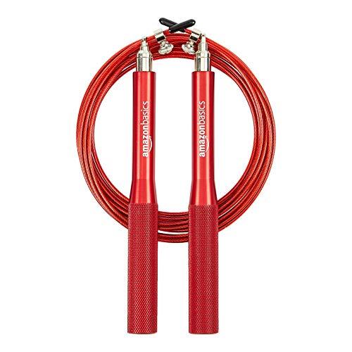 Amazon Basics, corda per salto in velocità, con impugnature in alluminio, rossa