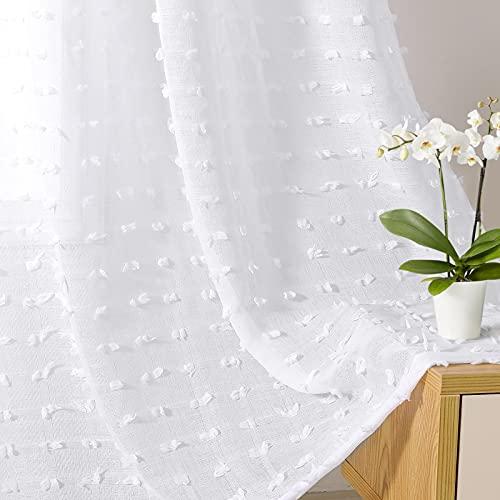 Guken White Sheer Curtains 84 Inches Long 2 Panels Rod Pocket Farmhouse Boho Bedroom Voile White Semi Sheer Pom Pom Curtains Sheer Tufted Curtains Girls Kid Nursery Living Room Decor, 52x84 Length