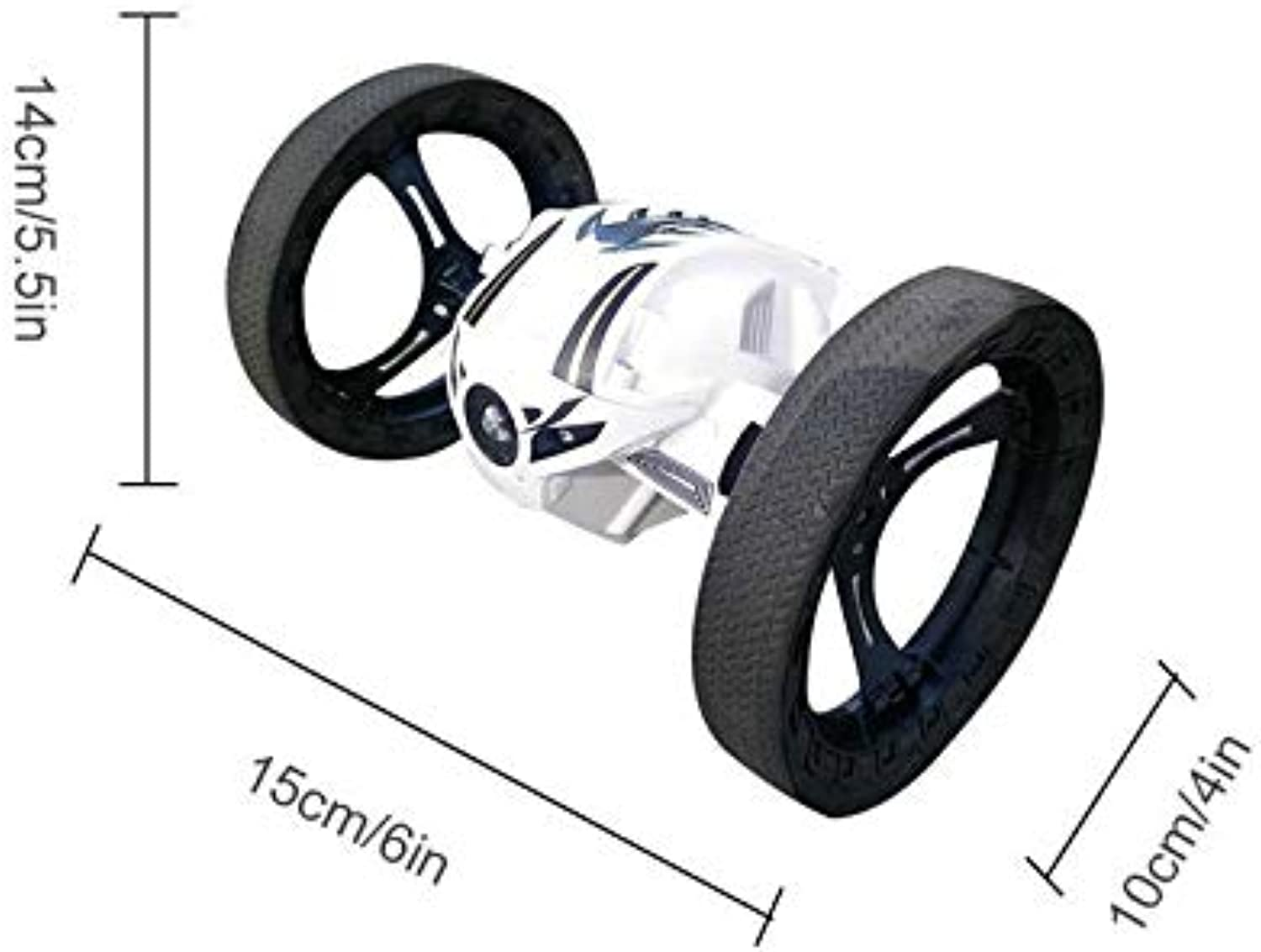 Generic 2.4G Control Stunt Bounce Vehicle Two Wheel redating Tipper CrossCountry Stunt Car Resistance to Fall High Jump Toys Vehicle White