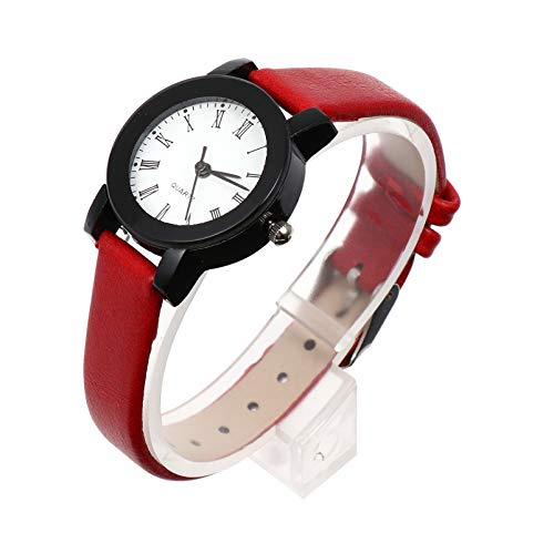 Baluue Reloj de Mujer Dama Reloj de Cuarzo de Muñeca Reloj de Cuero Falso para Mujer Relojes de Vestir Casual Damas Reloj de Pulsera Rojo para Niñas Mujeres Reloj