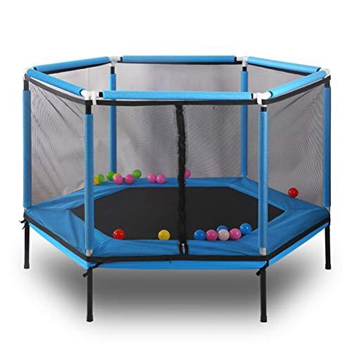 SJWR 60 Pulgadas niños Redondos Mini trampolín Net Pad Rebounder Ejercicio Exterior Juguetes para el hogar Cama Saltando Carga máxima 150 KG,Blue
