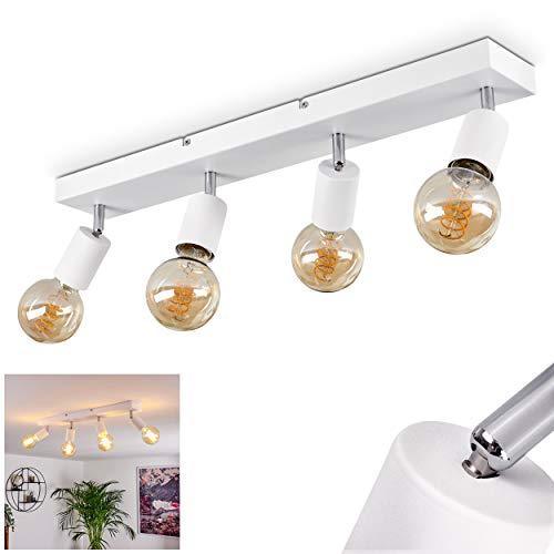 Deckenleuchte Tulla, Deckenlampe aus Metall in Weiß, Moderne 4-flammige Zimmerlampe, Leuchtenköpfe sind dreh- und schwenkbar, 4 x E27 max. 40 Watt, für LED Leuchtmittel geeignet