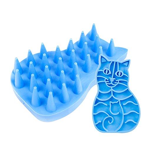 Wicemoon pour animal domestique en silicone Brosse de bain Peigne de massage du cuir chevelu Peigne pour prévenir la perte de cheveux facilité Tête nettoyante pour la fatigue de bain de massage pour chien chat