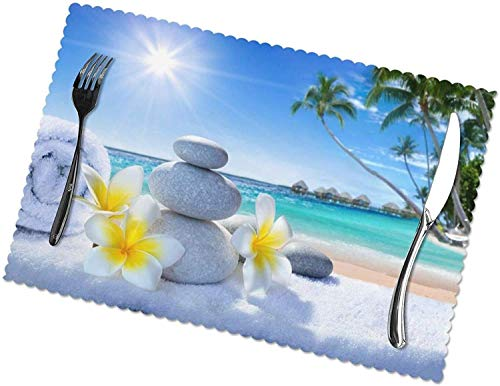 Tischsets aus tropischen Blumen und Zen-Steinen, 4er-Set, leicht zu reinigen, hitzebeständig, schmutzabweisende...