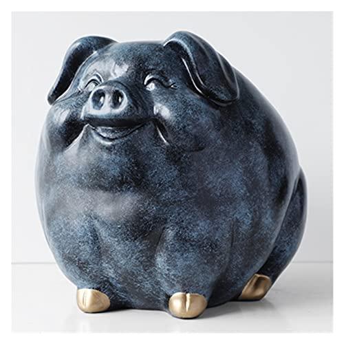 QWEQWE Caja de Efectivo de Dinero de Cerdo para Regalo Animal Estatua Estatua Moneda Hucha Caja decoración Creativa decoración (Color : Texture Blue)