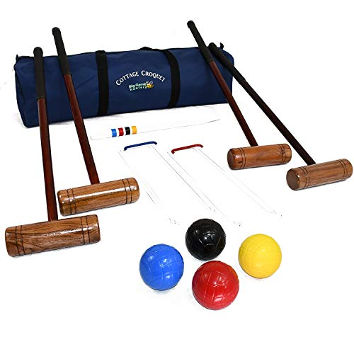 Cottage Krocket Spiel Set für 4 Spieler - Hartholz mit einer praktischen Tragetasche