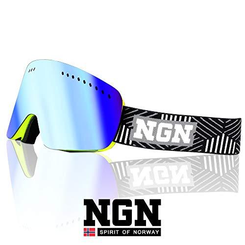 NGN Skibrille Gelb   Snowboard Brille   UV Schutz   Wechselsystem zum stecken   verspiegelt   Ski Brille für Damen und Herren   Anti-Beschlag   helmkompatibel   Ski Goggles Unisex