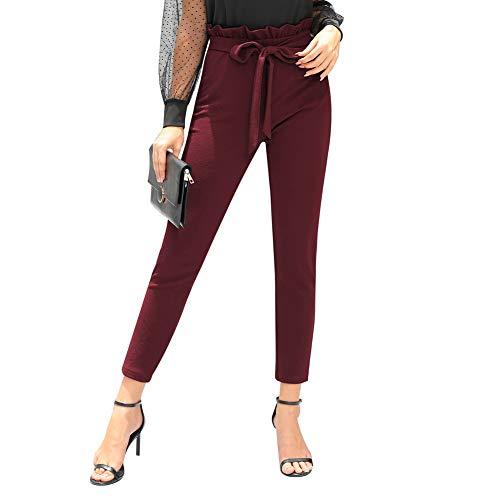 GRACE KARIN Pantaloni Donna Eleganti di Vita Alta con Cintura Elasticizzata Leggeri per Ogni Stagioni Bordeaux 2XL CLE02792-1