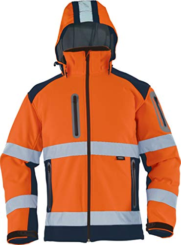 Vizwell Warnschutz-Softshelljacke Warnschutzjacke mit abnehmbare Kapuze orange-Marine Gr.S-5XL (XL)