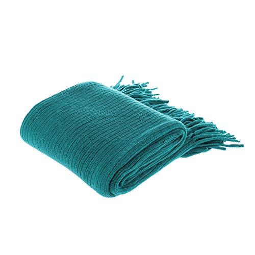 BATTILO HOME Manta suave decorativa cálida y acogedora para sofá, cama, playa, viajes, para sofá (Aqua, 50 x 80 pulgadas)