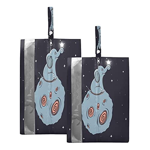 F17 - Bolsas de viaje para zapatos con diseño de elefante, diseño de luna, impermeable, portátil, ligera, bolsa de almacenamiento para hombres y mujeres, 2 unidades