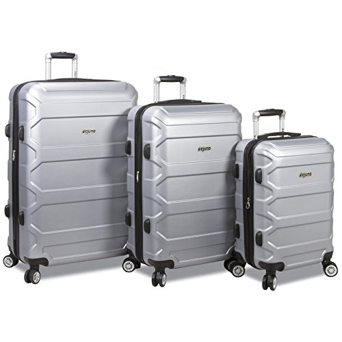 Dejuno Logan 3-piece Hardside Spinner Combination Lock Luggage Set, Silver