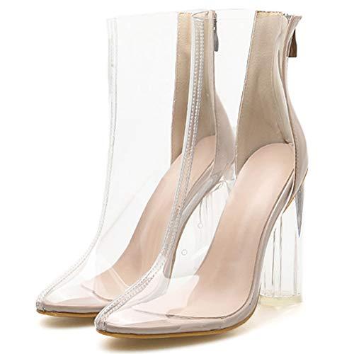 MAMU Frauen Klar Kleid Stiefel, Transparent Booties Punkt Toe-Block Chunky Heels Schnürstiefel Kurze Stiefel,Durchsichtig,39