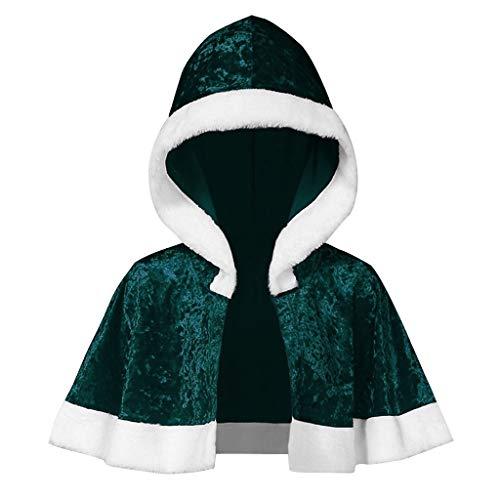 Xiangdanful Weihnachten Umhang Kapuzen Fell Cape Santa Cosplay Kostüm Coat Weihnachtsmantel Hochzeit Braut Winter Poncho Mit Pelzbesatz Santa Weihnachtskostüm Damen Winterjacke (XL, Grün)
