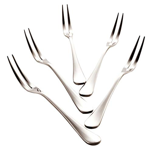 YIXIN2013SHOP Kitchen Spoons 5 Pack Stainless Steel Mirror Polishing Mini Cake Forks, Fruit Forks, Mini Dessert Forks, 5.1 Inch Soup Spoons
