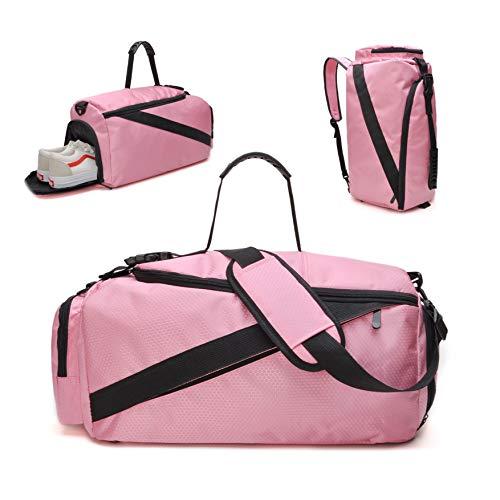 tuokener Bolsa Deporte Mujer Gimnasio Gym Bolsas de Mochila Bolsos de Viaje de Fin de Semana Impermeable Nylon (Rosa)