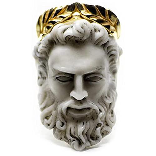 Kastma Anel de mitologia grega, anel em forma de cabeça do homem velho, anel de junta boêmia, anel de escultura dourada vintage