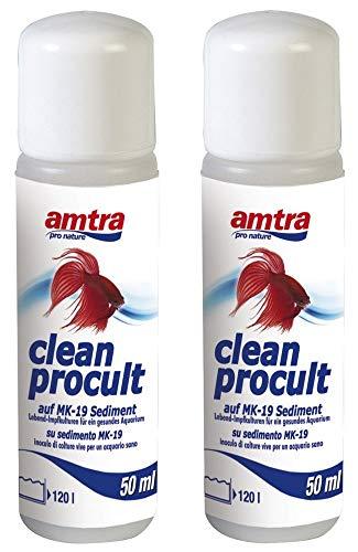 Amtra Clean Procult Set 2 Stück Lebend-Impfkulturen Aktive Filterbakterien Gesundes Aquarium Algen Wasser Fische Grundreinigung 2x50ml