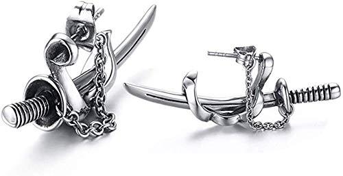 Lamuch, orecchini a perno da uomo, in acciaio inox, stile punk, gotico, spada di drago