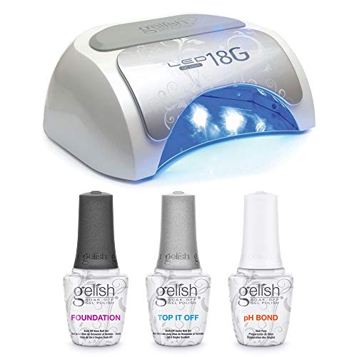 Gelish 18G LED Nail Polish Curing Light & Terrific Trio Gel Polish Essentials Set with Foundation, pH Bond, and Top It Off