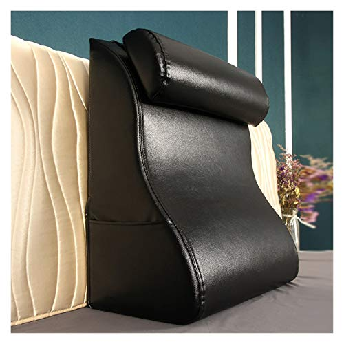 WAJIEFD Reading Pillow For Bed Sofa, Upholstered Triangle Backrest Headboard Cushion Lumbar Support Pillows, Sponge Filling,5 Colors (Color : Black, Size : 55X30X60CM)