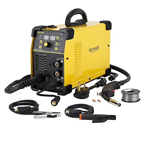 MIG TIG MMA Welder, Mig Welding Machine, Dual Voltage 110/220V Gas/Gasless Lift Tig Arc Stick Mig Flux Wire Welding Machine (MTG155D)