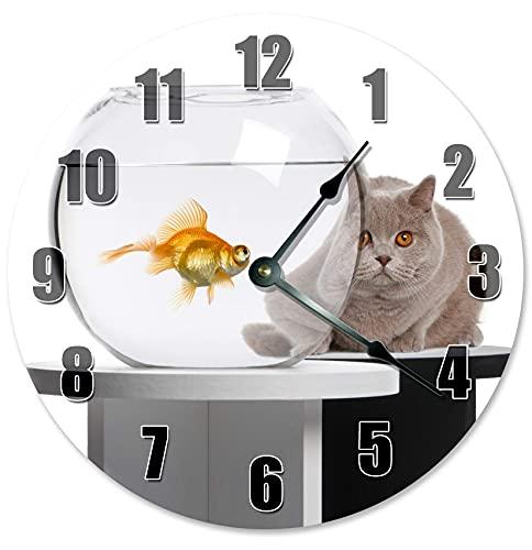 Reloj de Pared Colgante Hecho a Mano con Pilas, silencioso, sin tictac, Cuenco para Gatos y Peces, para Dormitorio, Oficina, decoración de cabaña