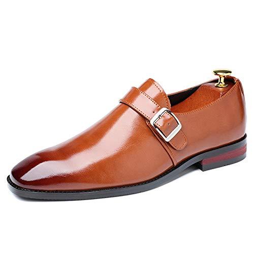 Ballyzess Zapatos De Cordones para Hombre Zapatos De Vestir De Negocios De Cuero con Hebilla De Cinturón Zapatos De Hombre Tallas Grandes Zapatos De Cuero-42