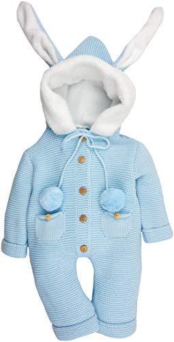 Bébé Caramel - Mono de punto con capucha y orejas de conejo. azul 12 Meses