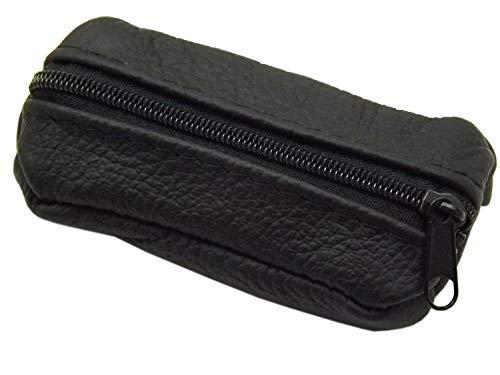 Kleine Echt Leder Schlüsseltasche 1 Fach Made in EU in Schwarz oder Rot (Schwarz)