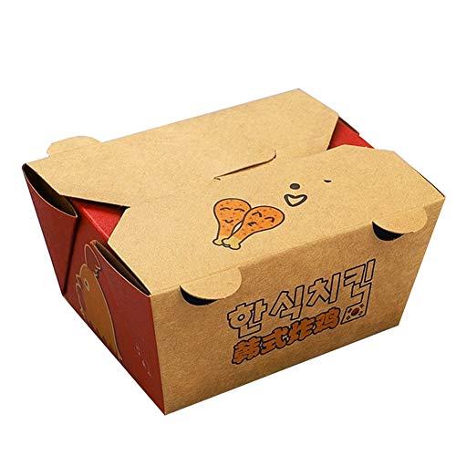 Einweg Hähnchenschenkel Winged Chicken Box - Party Picknick mit Reis verpackt Sushi Sashimi Mikrowellen-Heizbox [100 Pack] (Color : 820ML)