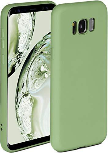 ONEFLOW Soft Hülle kompatibel mit Samsung Galaxy S8 Hülle aus Silikon, erhöhte Kante für Displayschutz, zweilagig, weiche Handyhülle - matt Grün