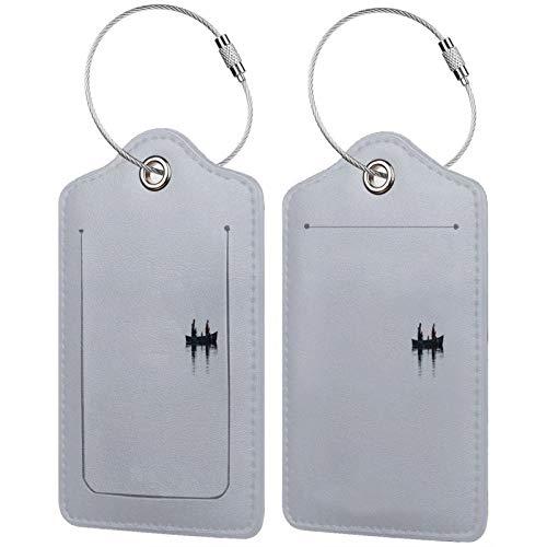 FULIYA Juego de 2 etiquetas de equipaje seguras de alta gama de cuero para maletas, tarjetas de visita, bolsa de identificación de viaje, barco, lago, niebla, minimalismo, color gris