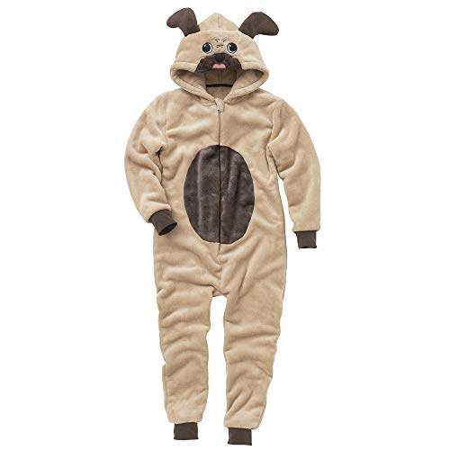Onesies Animal Crazy Childs Boys Girls Pug Dog Supersoft Fleece Jumpsuit Playsuit UK Seller - Brown - 13 Years