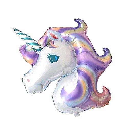 Hemore - Globo Grande de Aluminio con Unicornio para niños, decoración de Fiesta de cumpleaños, Color Morado