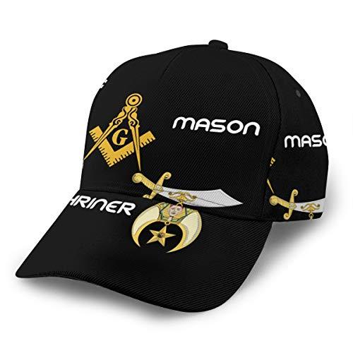 Masonic Shriner Split Unisex 3D Printing Classic Baseball Cap Snapback Flat Bill Hip Hop Hats Black