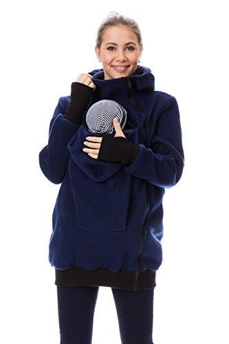 GoFuture 4in1 Babytragejacke für Mama,Papa und Baby Känguru Tragejacke aus Fleece mit Baby und Schwangerschaftseinsatz (L, Marine)
