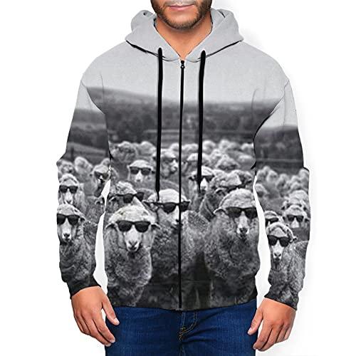 Sudadera con capucha para hombre con cremallera completa con capucha y diseño clásico con capucha, Bonitas ovejas con gafas de sol, color negro, M