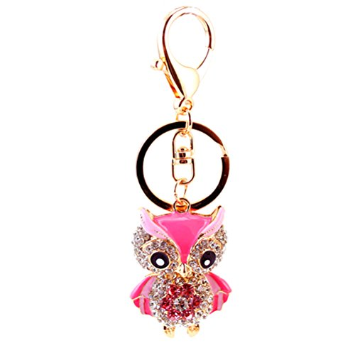 Healifty Eule Schlüsselanhänger Taschenanhänger Schlüsselbund mit Strass/Kristall und Schlüsselring für Auto Schlüssel Handtasche Rucksack