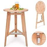 Deuba Table haute pliable en bois massif naturel - Mange debout • Ronde • Pliante • Ø 78cm -...