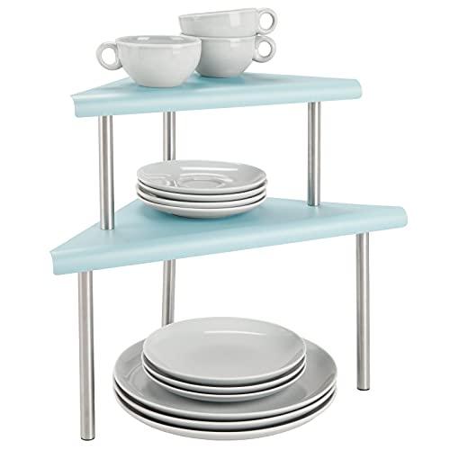 mDesign Küchenregal mit 2 Ablagen – Tellerregal für Ecken auf Arbeitsplatten und in Schränken – zweistöckige Geschirrablage aus Metall und Edelstahl für die Küche – mintgrün und mattsilberfarben