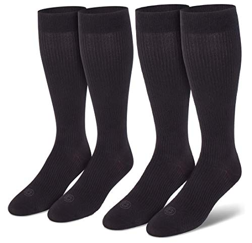 Doctor's Choice Men's Graduated Compression Socks, 8-15 mmhg, Over the Calf, 2 Pairs, Black, Large: Shoe Size 6-12.5