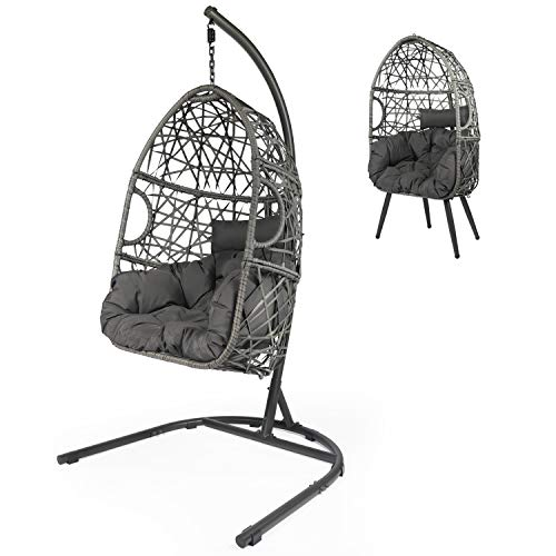 LAZZO Swing Egg Chair, Hanging Chair with C-type Hammock Chair Stand Set, Indoor & Outdoor Rattan Hammock Chair with Seat Cushion & Pillow for Patio Porch Lounge Bedroom (Grey, egg chair with C-stand)