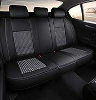 カーシートカバー、フロントおよびリア5シートフルセットユニバーサルレザーフォーシーズンパッド対応エアバッグシートプロテクター,グレー