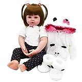 iCradle Reborn poupée 18inch Reborn bébé poupée en Silicone Souple poupée Fille Souriante avec Lapin châle Enfant Meilleur Cadeau (18Inch)