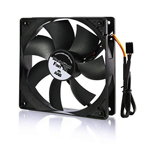 AAB Cooling Black Silent Fan 12 - Una Silenziosa e Molto Efficiente Ventola PC 120mm, Raffreddamento PC, 12 Volt Accessori PC, 12V Ventilatore, 12cm, 3 Pin Case Fan, 115m3/h
