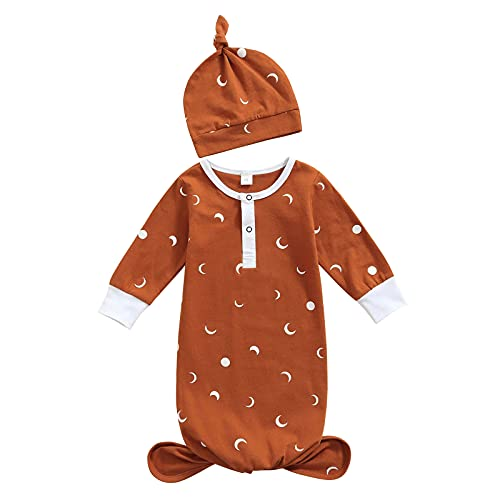 Infant Baby Girl Boy Gowns Sleeping Bag Pajamas Newborn Coming Home Outfits Knotted Nightgowns 0-6 Months Brown