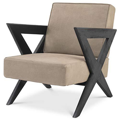 Casa Padrino sillón de Piel Genuina de Lujo Beige/Negro 63 x 79 x A. 76 cm - Sillón de salón con Cuero Fino de búfalo - Muebles de Lujo