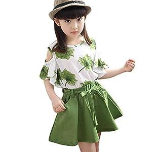 キッズ服 女の子 Tシャツ スカート 2点セット 上下セット 子供服 トップス スカート セットアップ 花柄 肩出し 春 夏 通学 旅行 海遊び 普段着 (グリーン,130cm)