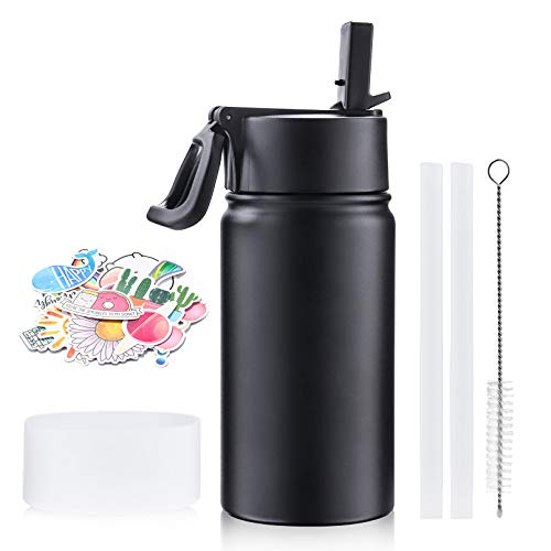 Insulated Water Bottle, Stainless Steel Water Bottle with Straw Lid Wide Handle, Double-wall Vacuum Insulated Wide Mouth Thermos Flask, Leakproof, BPA-Free, Portable Sport Bottle for Kids,Adults(12oz)